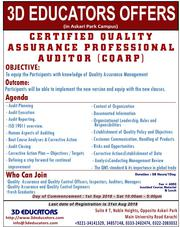 3D EDUCATORS Offer Certified Quality Assurance Professional Auditor