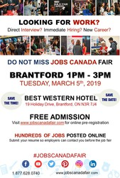 FREE: Brantford Job Fair– March 5th,  2019